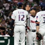 High-fives all around Tokyo finally beats Fukuoka.
