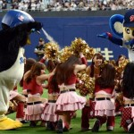 The only spirit-lifting photo I could find: Tsubakuro maces the Chunichi cheerleaders.