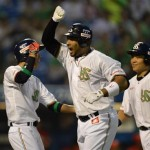 Coco celebrates after his first NPB grandslam.