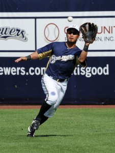 Aoki played right and center field for the Brewers in 2013.